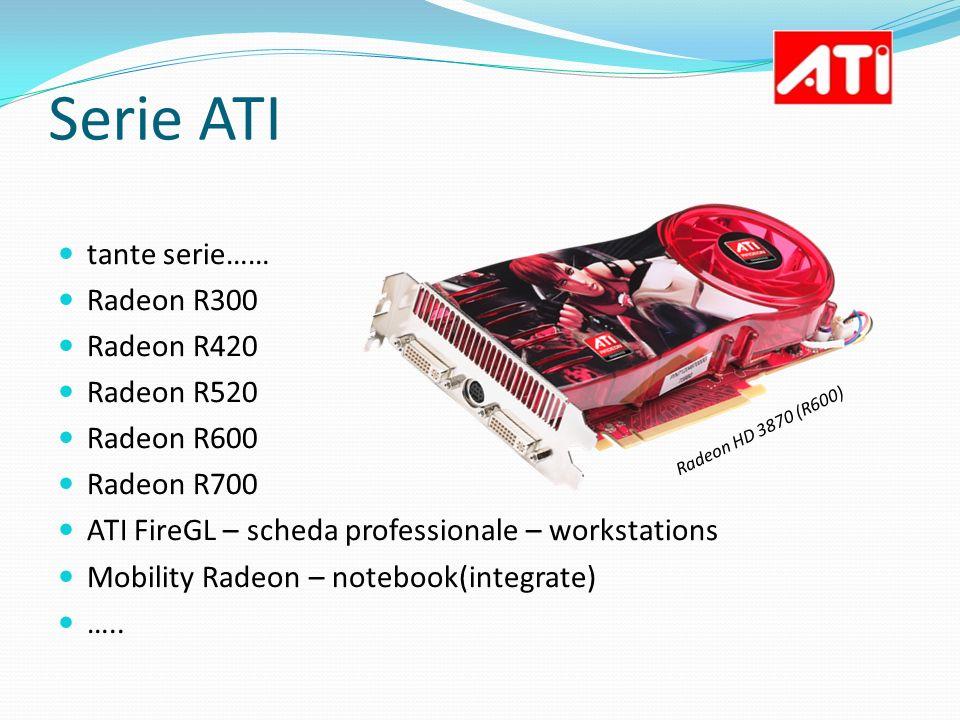 Serie ATI tante serie…… Radeon R300 Radeon R420 Radeon R520 Radeon R600 Radeon R700 ATI FireGL – scheda professionale – workstations Mobility Radeon –