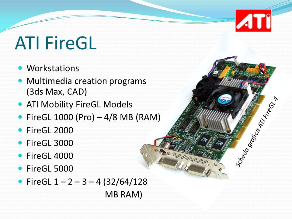 ATI FireGL Workstations Multimedia creation programs (3ds Max, CAD) ATI Mobility FireGL Models FireGL 1000 (Pro) – 4/8 MB (RAM) FireGL 2000 FireGL 300