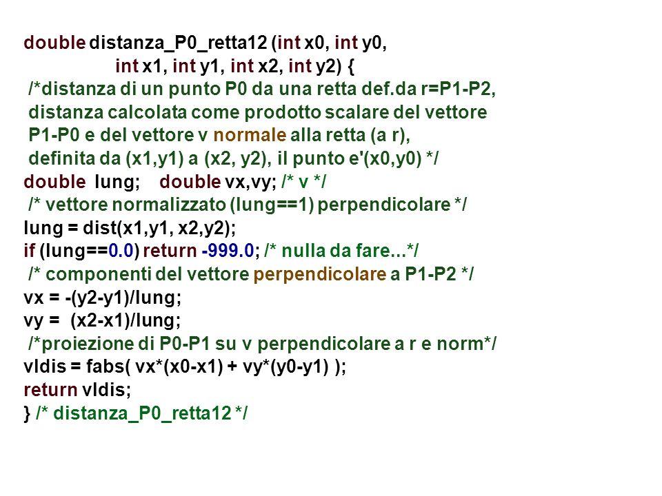 double distanza_P0_retta12 (int x0, int y0, int x1, int y1, int x2, int y2) { /*distanza di un punto P0 da una retta def.da r=P1-P2, distanza calcolat