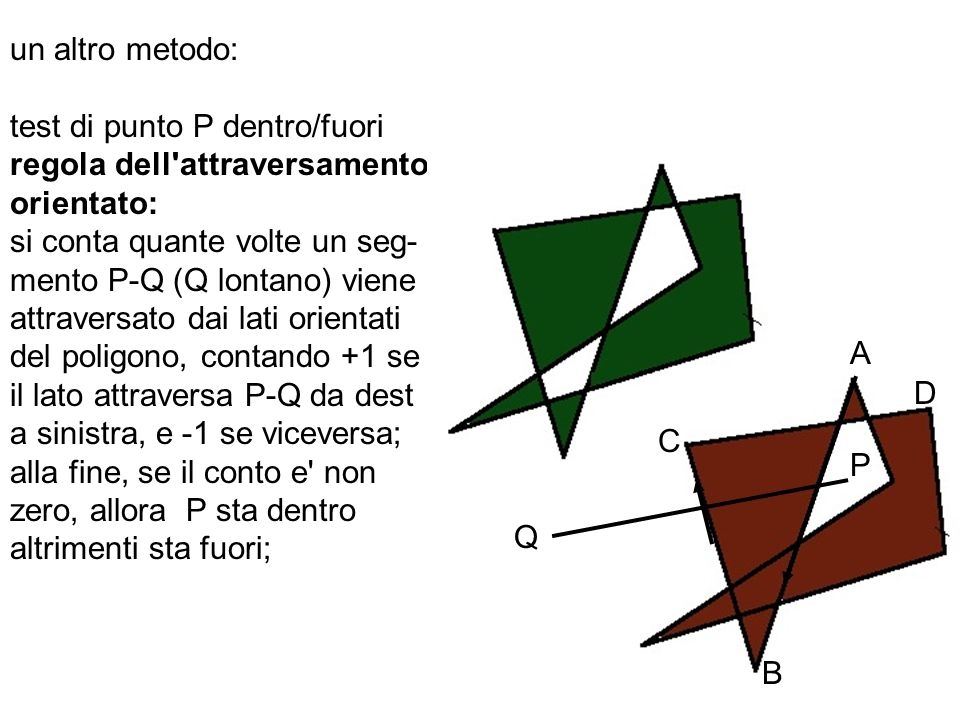 un altro metodo: test di punto P dentro/fuori regola dell'attraversamento orientato: si conta quante volte un seg- mento P-Q (Q lontano) viene attrave