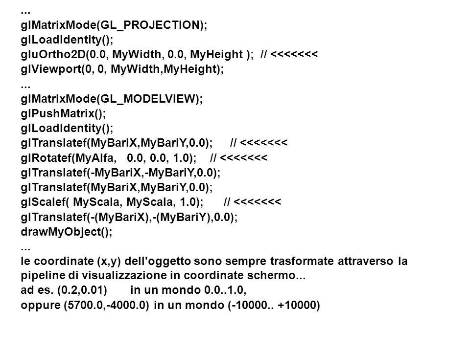 ... glMatrixMode(GL_PROJECTION); glLoadIdentity(); gluOrtho2D(0.0, MyWidth, 0.0, MyHeight ); // <<<<<<< glViewport(0, 0, MyWidth,MyHeight);... glMatri