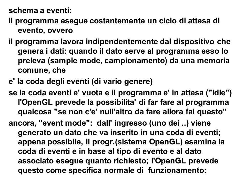 schema a eventi: il programma esegue costantemente un ciclo di attesa di evento, ovvero il programma lavora indipendentemente dal dispositivo che gene