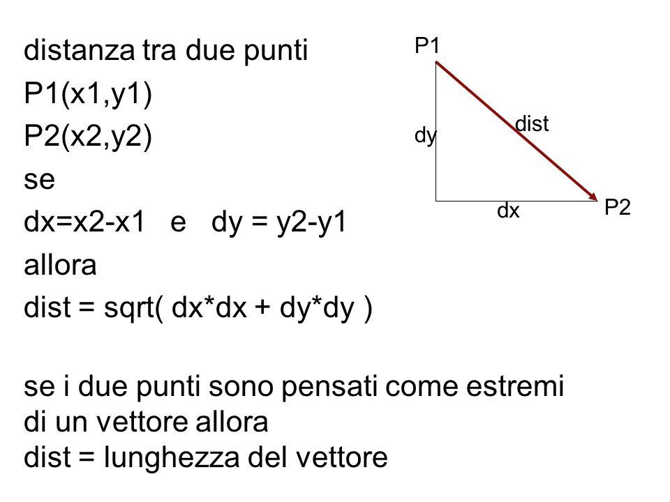 distanza tra due punti P1(x1,y1) P2(x2,y2) se dx=x2-x1 e dy = y2-y1 allora dist = sqrt( dx*dx + dy*dy ) se i due punti sono pensati come estremi di un
