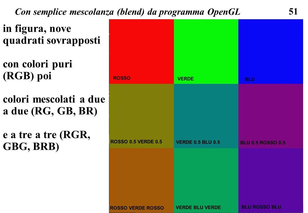 51 Con semplice mescolanza (blend) da programma OpenGL in figura, nove quadrati sovrapposti con colori puri (RGB) poi colori mescolati a due a due (RG