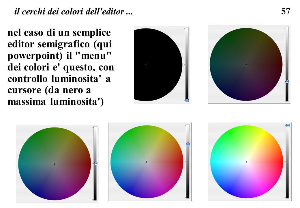 57 il cerchi dei colori dell'editor... nel caso di un semplice editor semigrafico (qui powerpoint) il