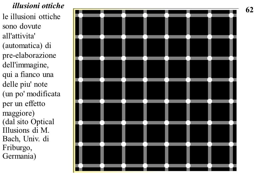 62 illusioni ottiche le illusioni ottiche sono dovute all'attivita' (automatica) di pre-elaborazione dell'immagine, qui a fianco una delle piu' note (