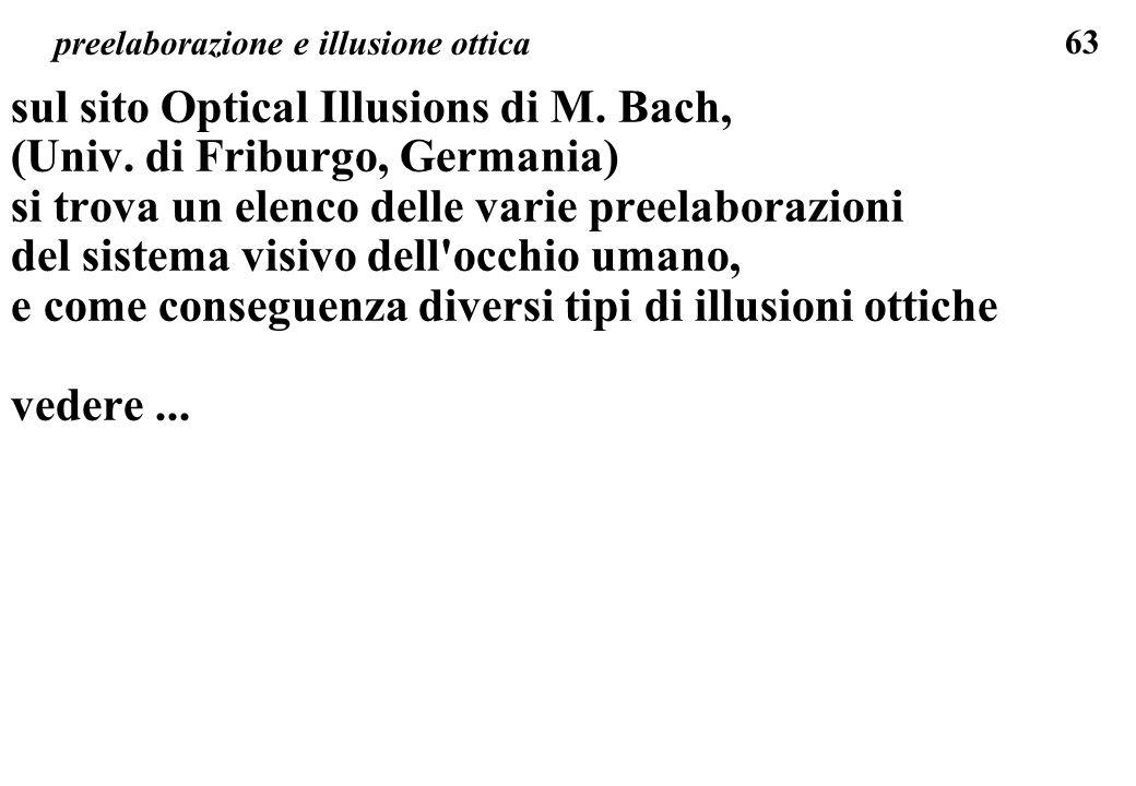 63 preelaborazione e illusione ottica sul sito Optical Illusions di M. Bach, (Univ. di Friburgo, Germania) si trova un elenco delle varie preelaborazi