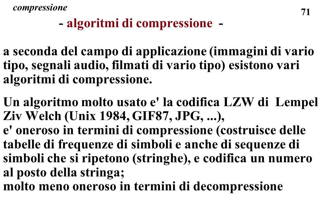 71 compressione - algoritmi di compressione - a seconda del campo di applicazione (immagini di vario tipo, segnali audio, filmati di vario tipo) esist