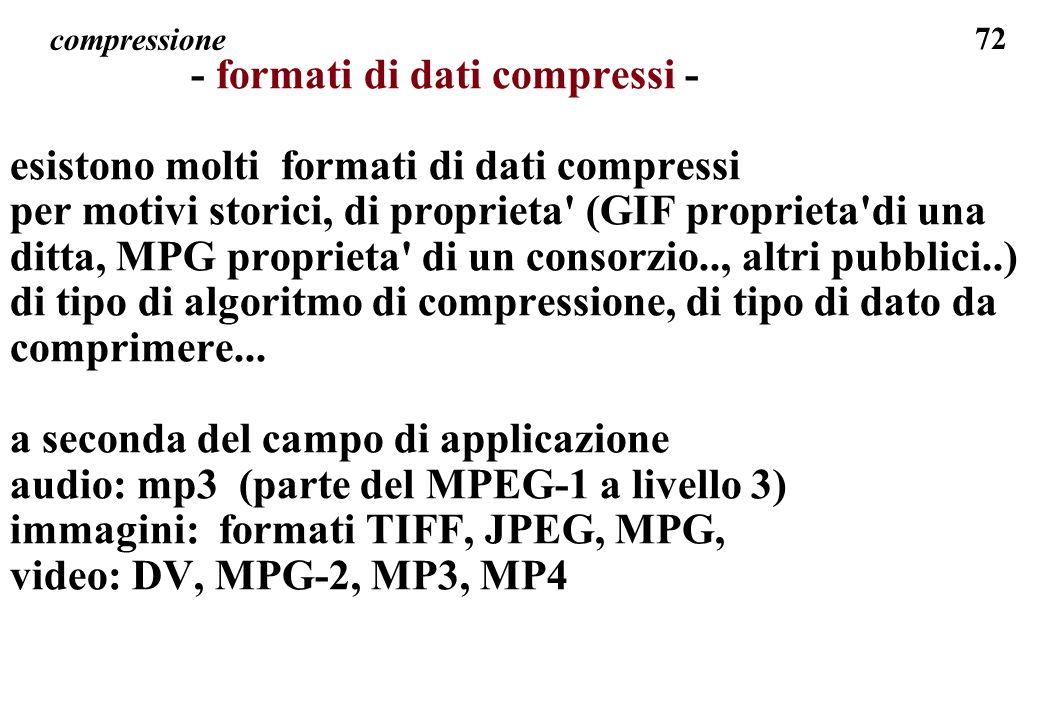72 compressione - formati di dati compressi - esistono molti formati di dati compressi per motivi storici, di proprieta' (GIF proprieta'di una ditta,