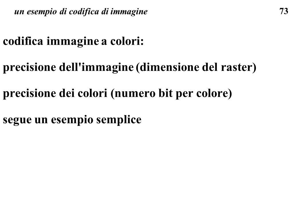 73 un esempio di codifica di immagine codifica immagine a colori: precisione dell'immagine (dimensione del raster) precisione dei colori (numero bit p