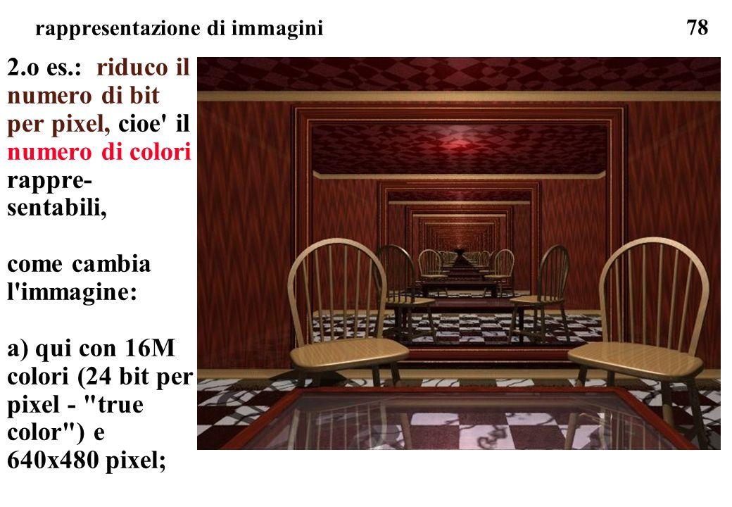 78 rappresentazione di immagini 2.o es.: riduco il numero di bit per pixel, cioe' il numero di colori rappre- sentabili, come cambia l'immagine: a) qu