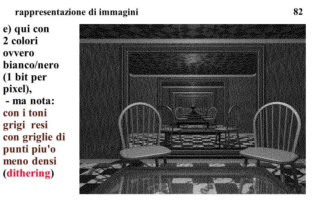 82 rappresentazione di immagini e) qui con 2 colori ovvero bianco/nero (1 bit per pixel), - ma nota: con i toni grigi resi con griglie di punti piu'o