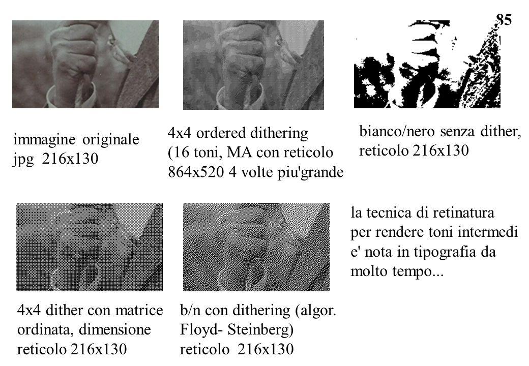 85 bianco/nero senza dither, reticolo 216x130 b/n con dithering (algor. Floyd- Steinberg) reticolo 216x130 4x4 ordered dithering (16 toni, MA con reti