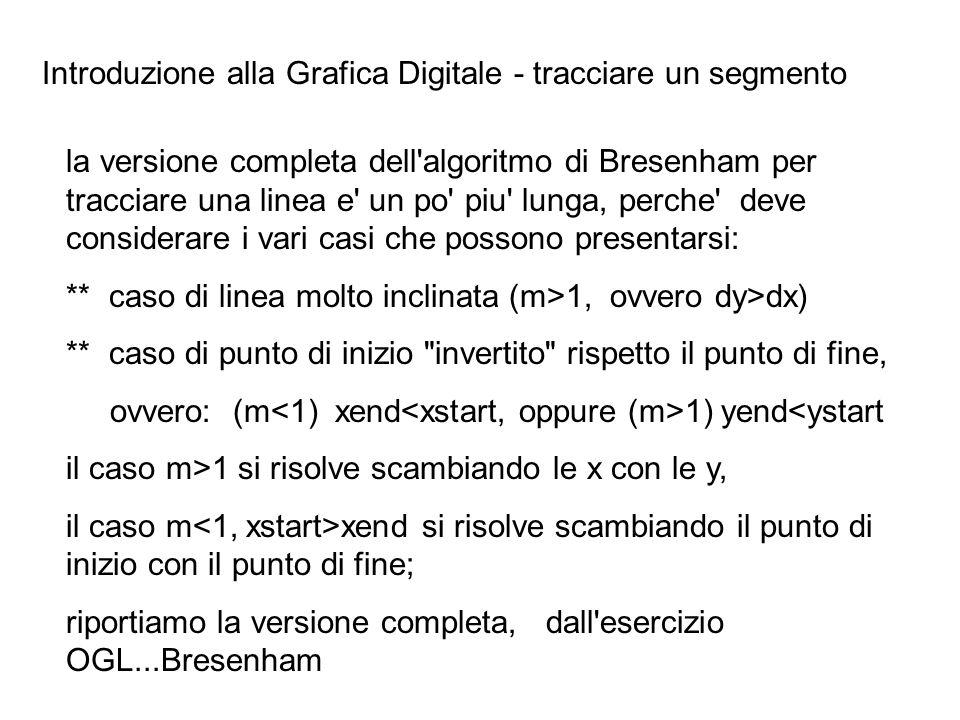 Introduzione alla Grafica Digitale - tracciare un segmento la versione completa dell'algoritmo di Bresenham per tracciare una linea e' un po' piu' lun