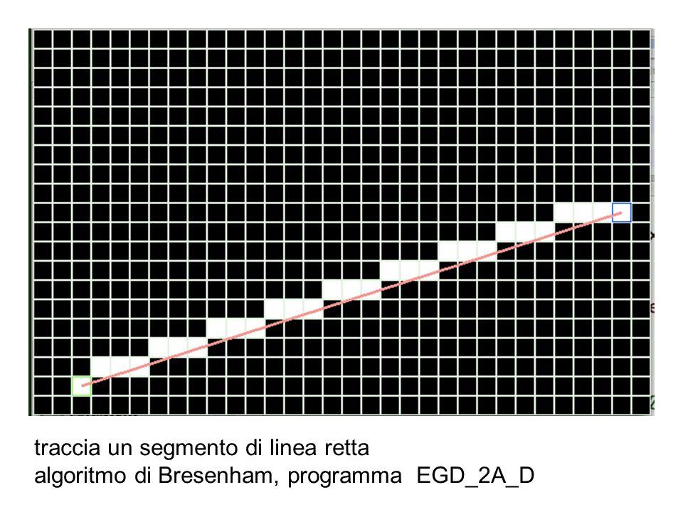 traccia un segmento di linea retta algoritmo di Bresenham, programma EGD_2A_D