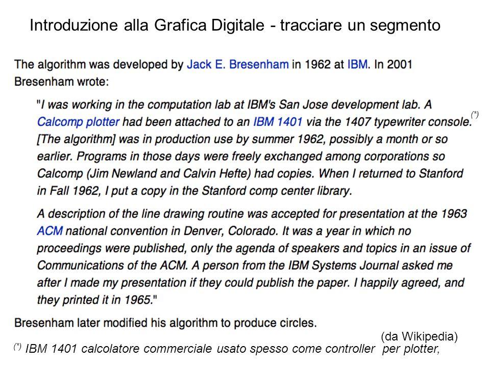 Introduzione alla Grafica Digitale - tracciare un segmento (da Wikipedia) (*) IBM 1401 calcolatore commerciale usato spesso come controller per plotte