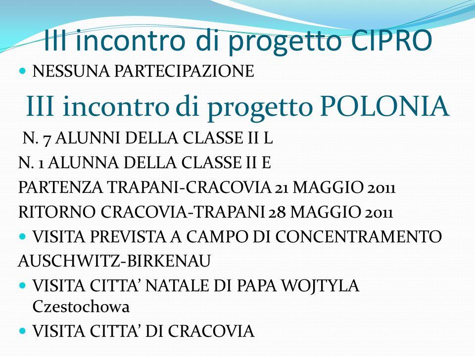 III incontro di progetto CIPRO NESSUNA PARTECIPAZIONE III incontro di progetto POLONIA N. 7 ALUNNI DELLA CLASSE II L N. 1 ALUNNA DELLA CLASSE II E PAR
