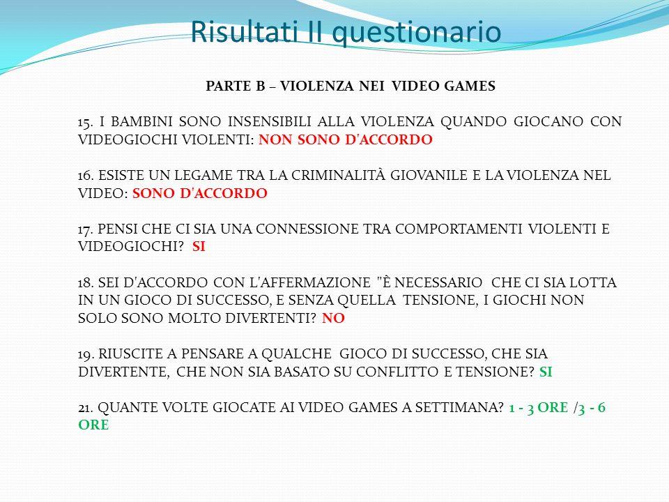 Risultati II questionario PARTE B – VIOLENZA NEI VIDEO GAMES 15. I BAMBINI SONO INSENSIBILI ALLA VIOLENZA QUANDO GIOCANO CON VIDEOGIOCHI VIOLENTI: NON