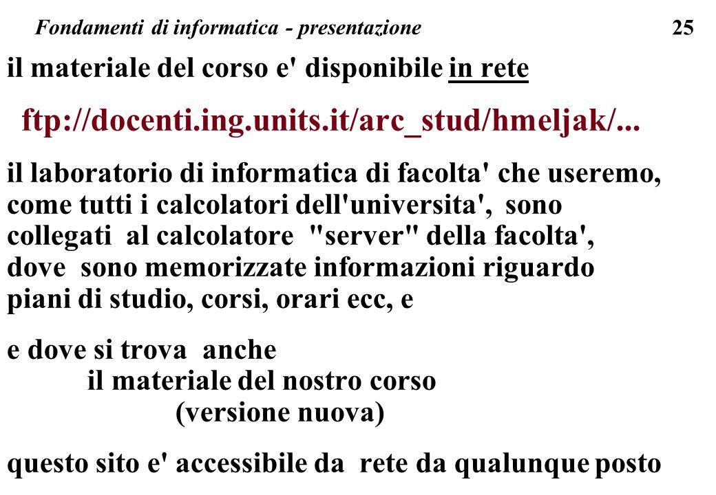 25 il materiale del corso e' disponibile in rete ftp://docenti.ing.units.it/arc_stud/hmeljak/... il laboratorio di informatica di facolta' che useremo
