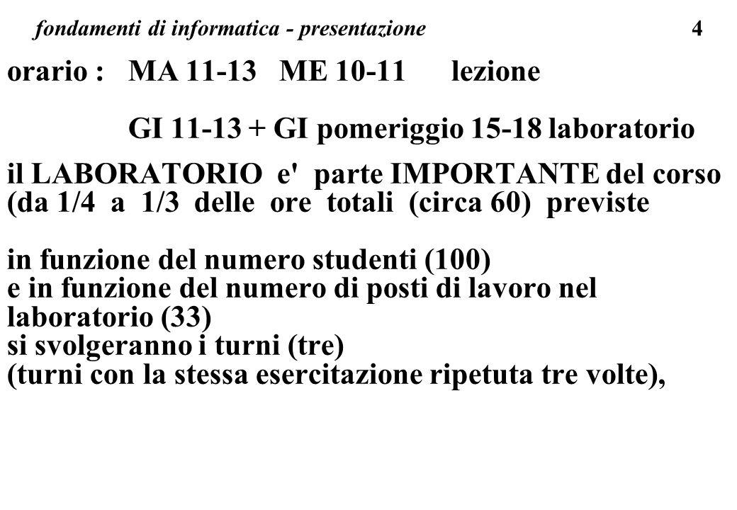 4 fondamenti di informatica - presentazione orario : MA 11-13 ME 10-11 lezione GI 11-13 + GI pomeriggio 15-18 laboratorio il LABORATORIO e' parte IMPO