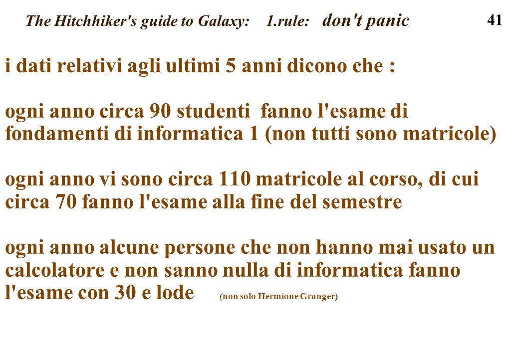 41 The Hitchhiker's guide to Galaxy: 1.rule: don't panic i dati relativi agli ultimi 5 anni dicono che : ogni anno circa 90 studenti fanno l'esame di