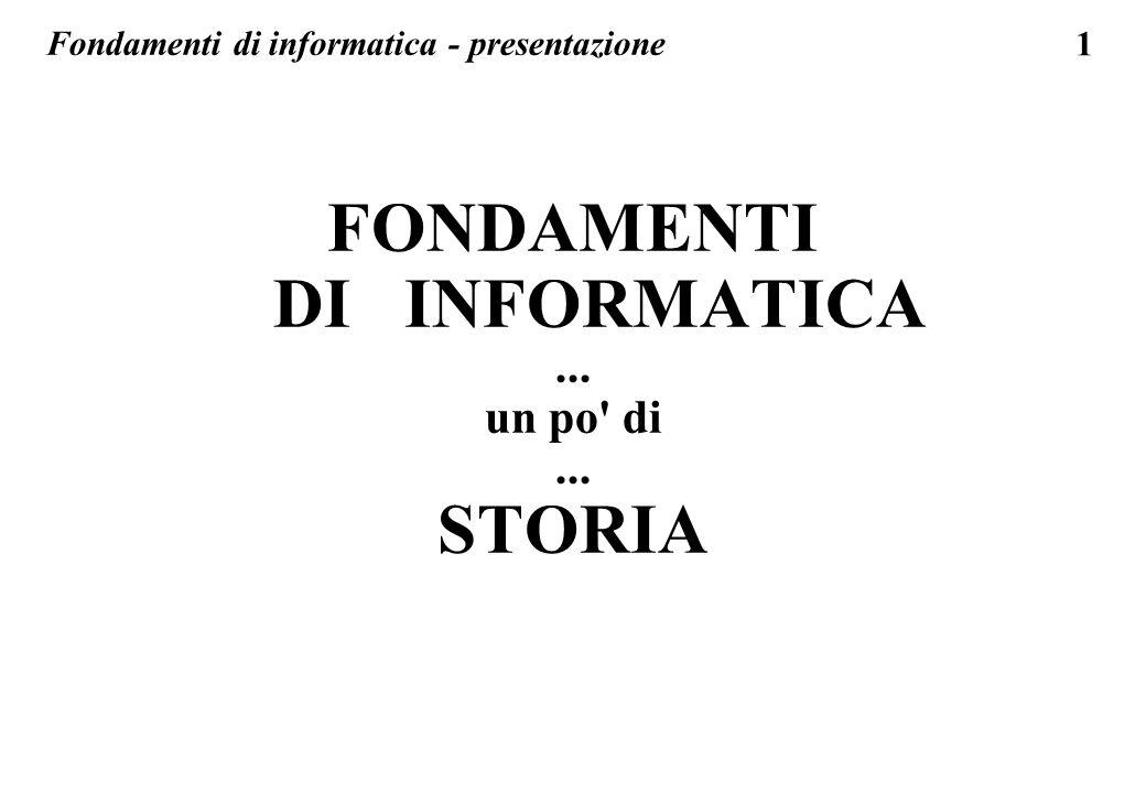 1 FONDAMENTI DI INFORMATICA... un po' di... STORIA Fondamenti di informatica - presentazione