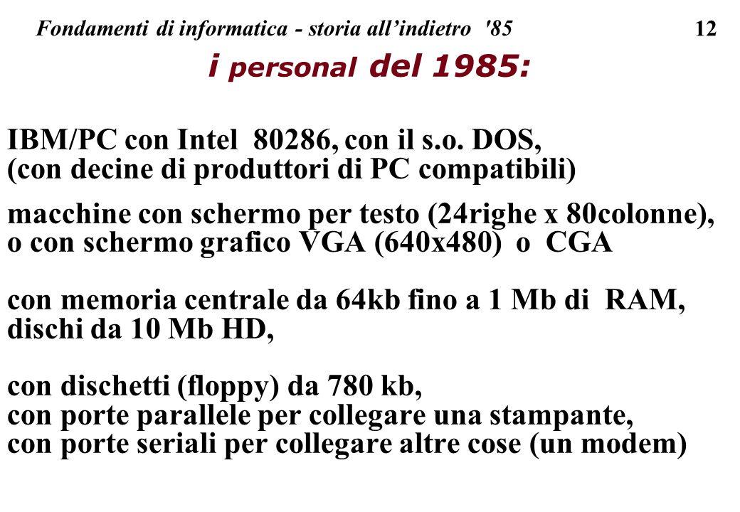 12 Fondamenti di informatica - storia allindietro '85 i personal del 1985: IBM/PC con Intel 80286, con il s.o. DOS, (con decine di produttori di PC co