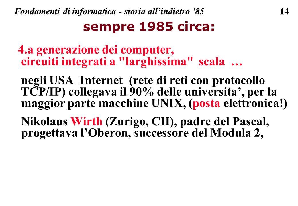 14 sempre 1985 circa: 4.a generazione dei computer, circuiti integrati a