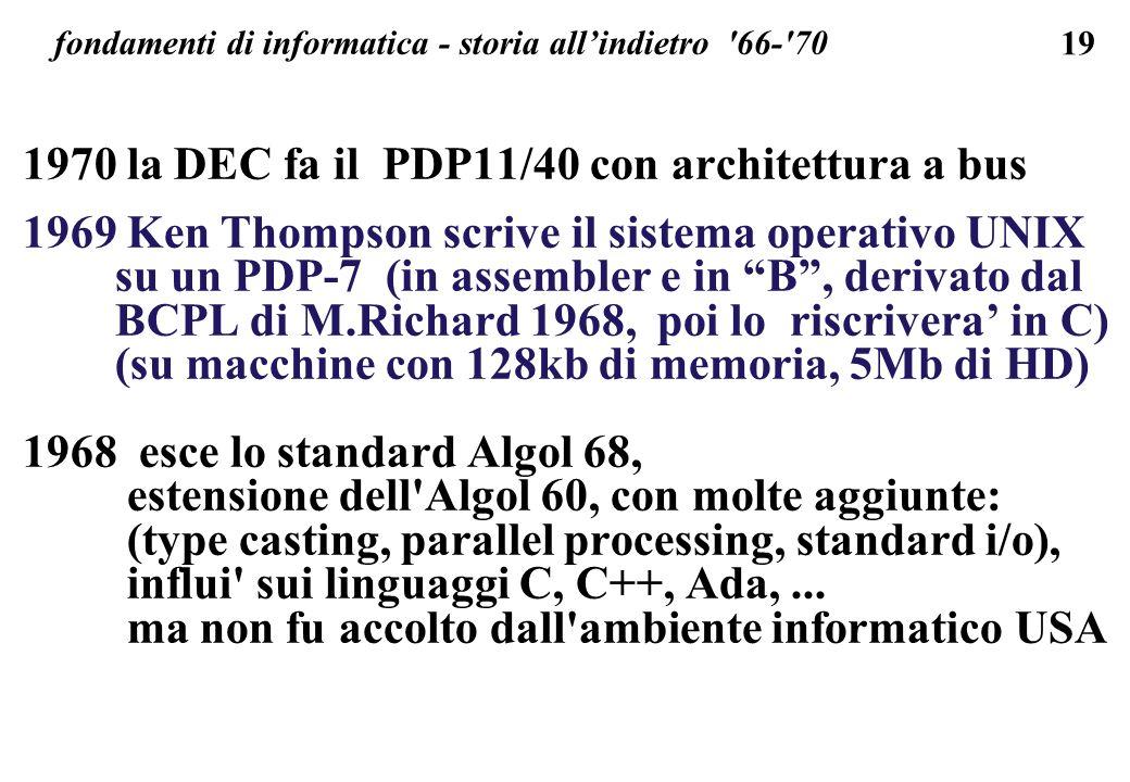 19 fondamenti di informatica - storia allindietro '66-'70 1970 la DEC fa il PDP11/40 con architettura a bus 1969 Ken Thompson scrive il sistema operat