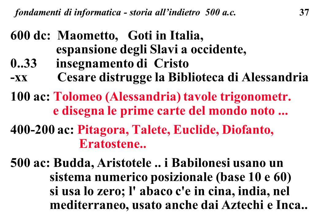 37 fondamenti di informatica - storia allindietro 500 a.c. 600 dc: Maometto, Goti in Italia, espansione degli Slavi a occidente, 0..33 insegnamento di