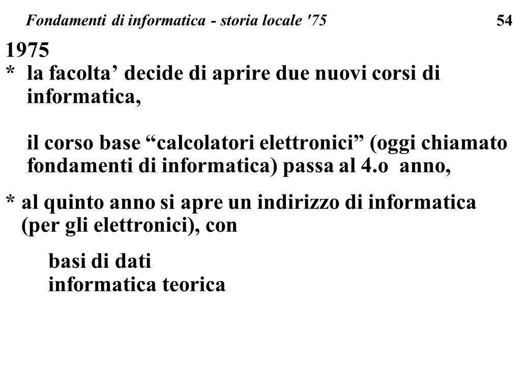 54 1975 * la facolta decide di aprire due nuovi corsi di informatica, il corso base calcolatori elettronici (oggi chiamato fondamenti di informatica)