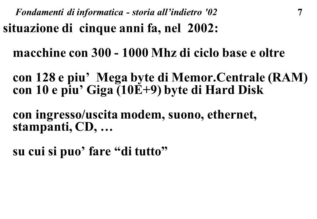 7 situazione di cinque anni fa, nel 2002: macchine con 300 - 1000 Mhz di ciclo base e oltre con 128 e piu Mega byte di Memor.Centrale (RAM) con 10 e p