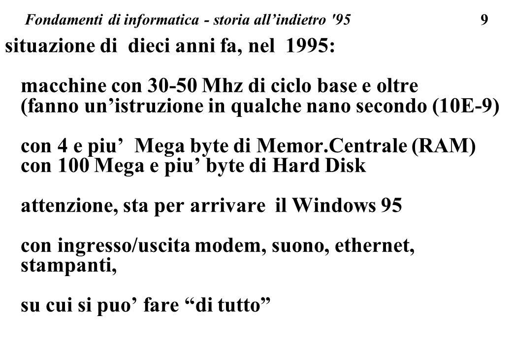 9 situazione di dieci anni fa, nel 1995: macchine con 30-50 Mhz di ciclo base e oltre (fanno unistruzione in qualche nano secondo (10E-9) con 4 e piu