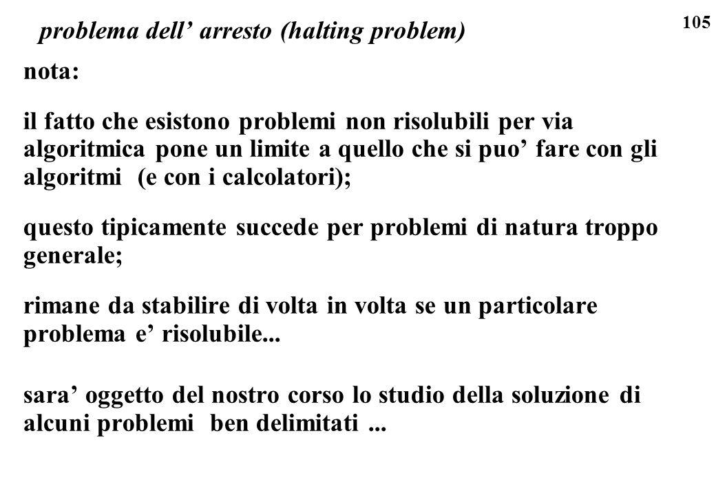105 problema dell arresto (halting problem) nota: il fatto che esistono problemi non risolubili per via algoritmica pone un limite a quello che si puo
