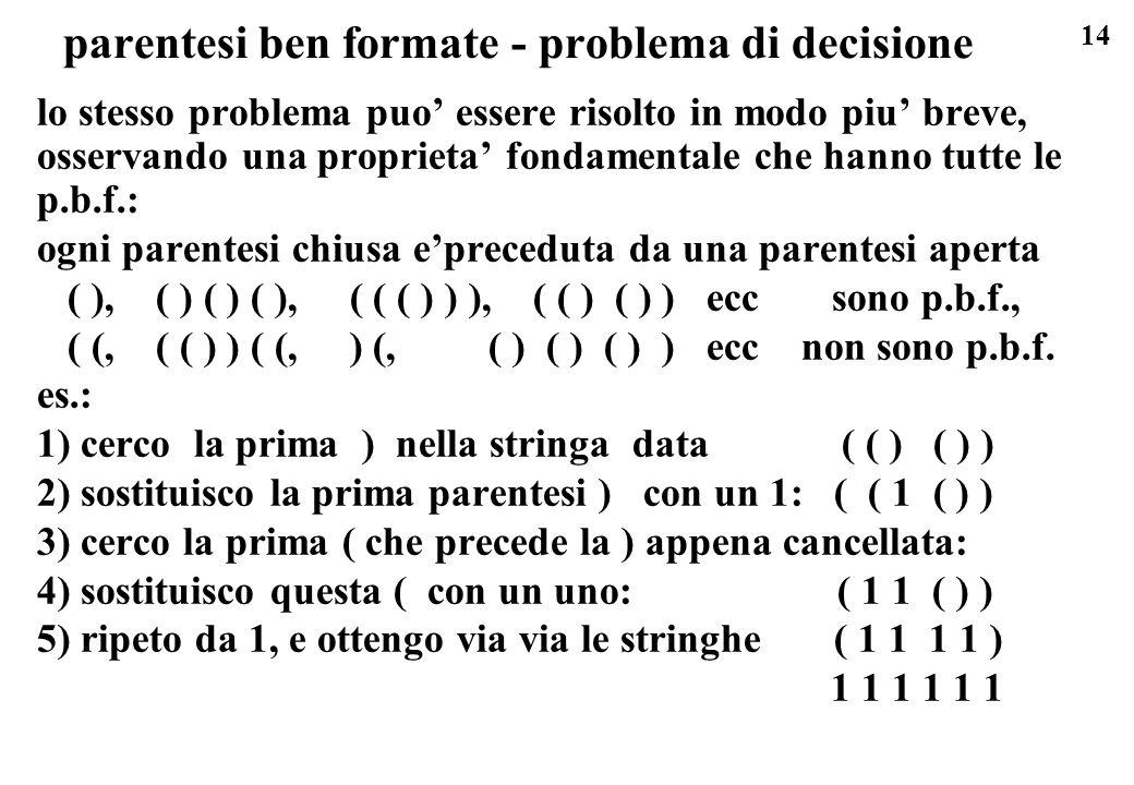 14 parentesi ben formate - problema di decisione lo stesso problema puo essere risolto in modo piu breve, osservando una proprieta fondamentale che ha