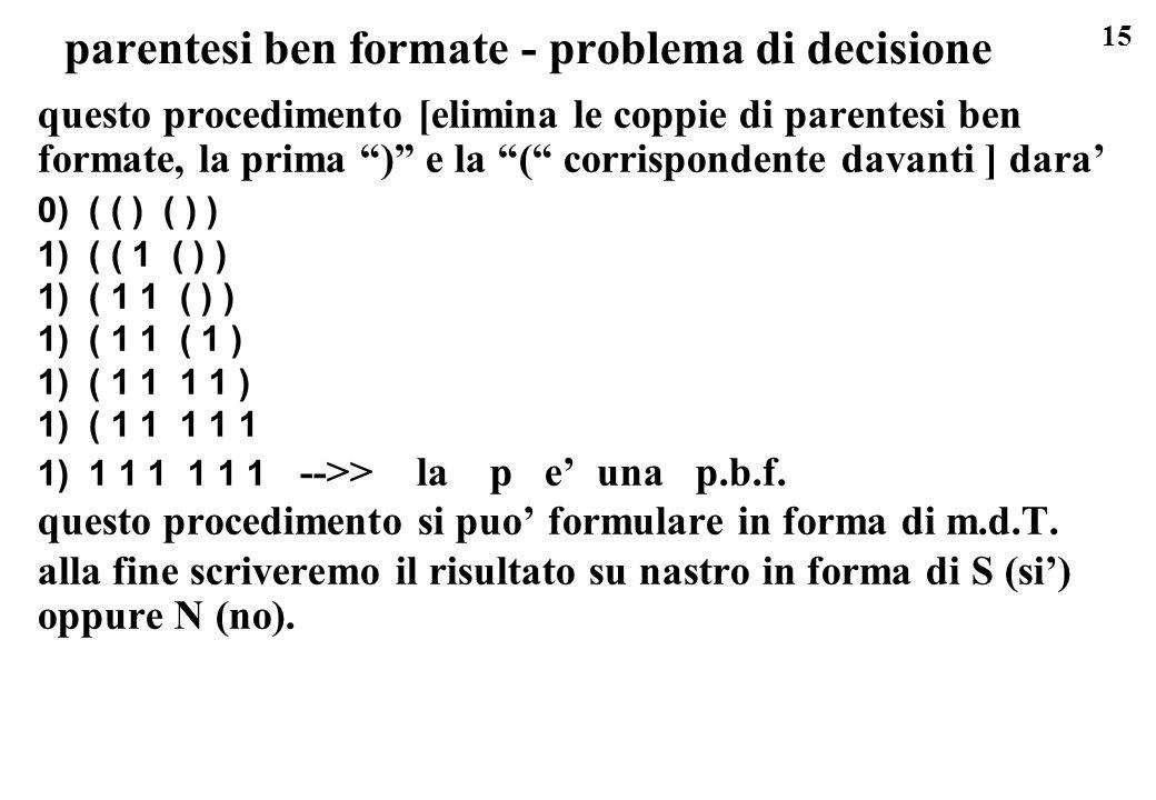 15 parentesi ben formate - problema di decisione questo procedimento [elimina le coppie di parentesi ben formate, la prima ) e la ( corrispondente dav