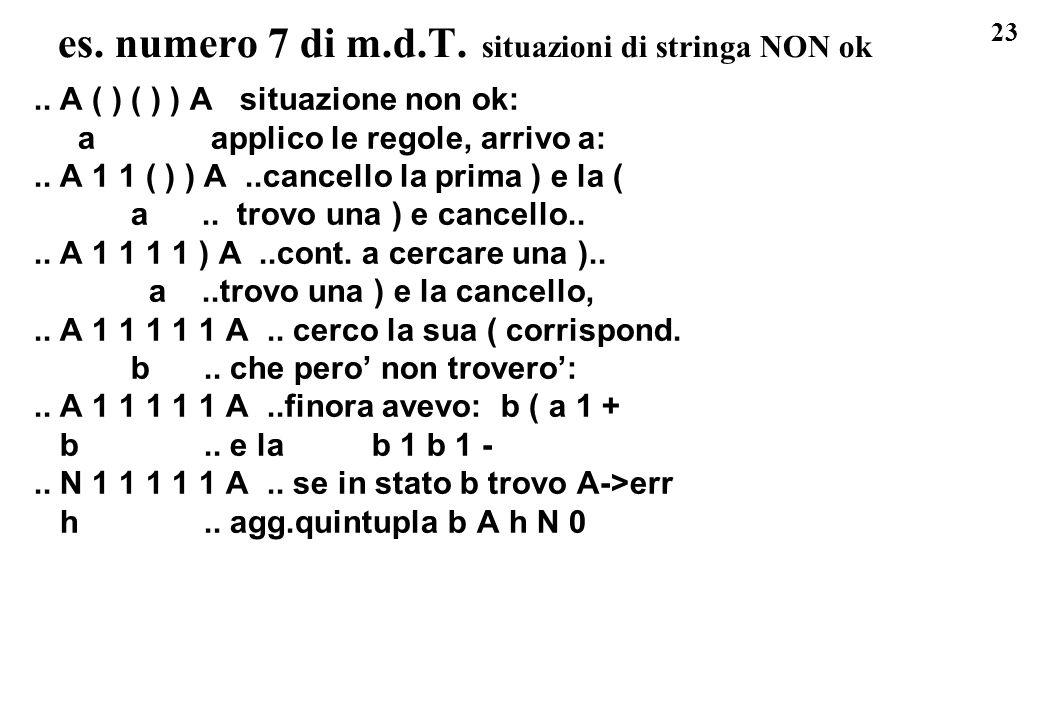 23 es. numero 7 di m.d.T. situazioni di stringa NON ok.. A ( ) ( ) ) A situazione non ok: a applico le regole, arrivo a:.. A 1 1 ( ) ) A..cancello la
