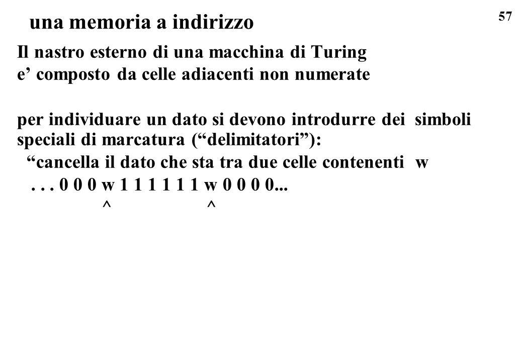 57 una memoria a indirizzo Il nastro esterno di una macchina di Turing e composto da celle adiacenti non numerate per individuare un dato si devono in