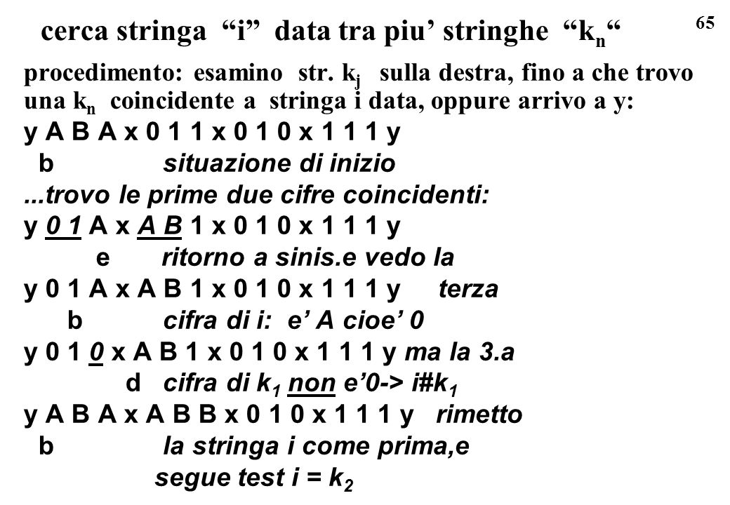 65 cerca stringa i data tra piu stringhe k n procedimento: esamino str. k j sulla destra, fino a che trovo una k n coincidente a stringa i data, oppur
