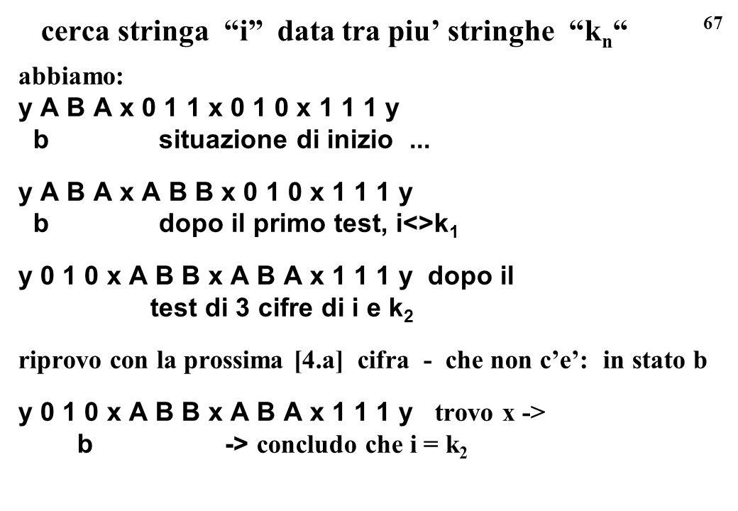 67 cerca stringa i data tra piu stringhe k n abbiamo: y A B A x 0 1 1 x 0 1 0 x 1 1 1 y b situazione di inizio... y A B A x A B B x 0 1 0 x 1 1 1 y b