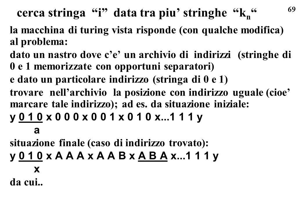 69 cerca stringa i data tra piu stringhe k n la macchina di turing vista risponde (con qualche modifica) al problema: dato un nastro dove ce un archiv