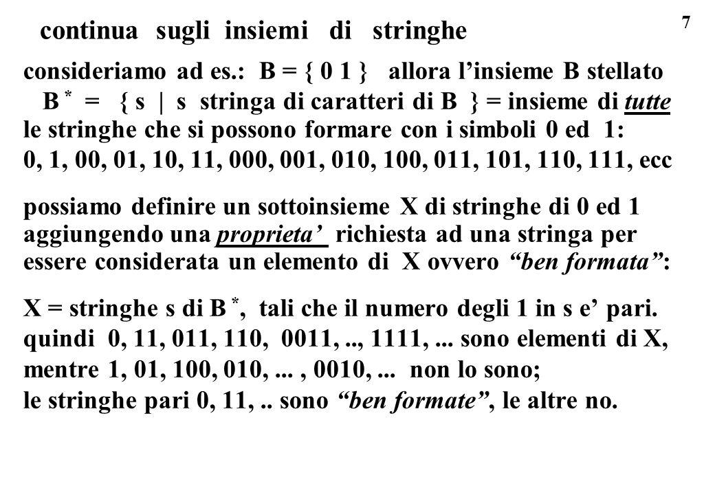 7 continua sugli insiemi di stringhe consideriamo ad es.: B = { 0 1 } allora linsieme B stellato B * = { s | s stringa di caratteri di B } = insieme d