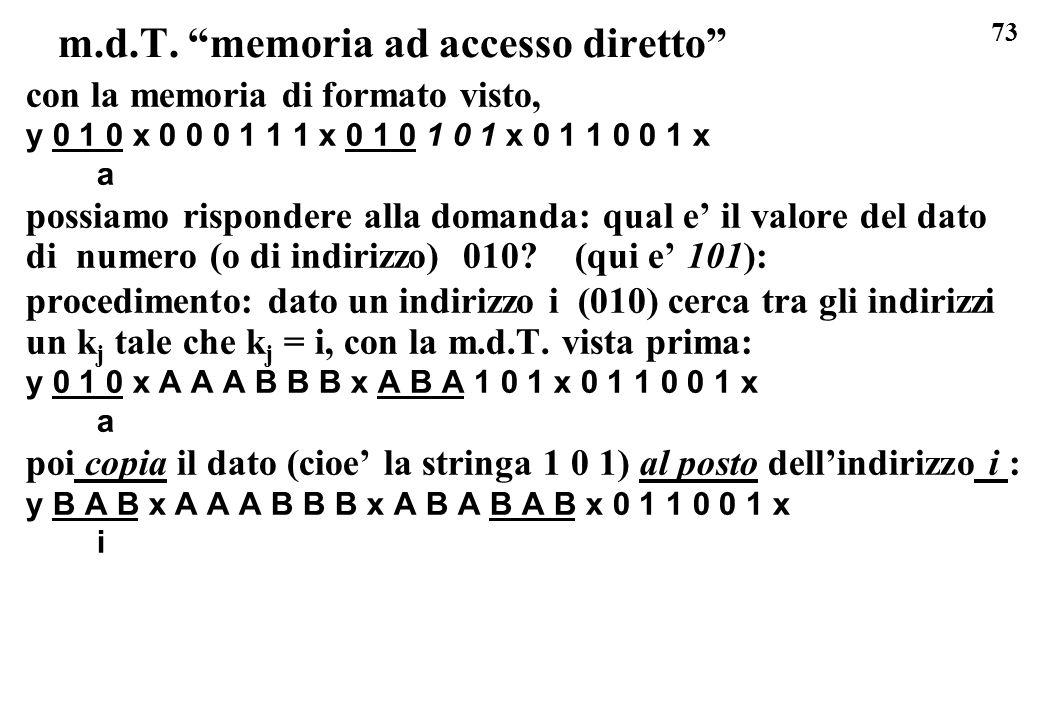 73 m.d.T. memoria ad accesso diretto con la memoria di formato visto, y 0 1 0 x 0 0 0 1 1 1 x 0 1 0 1 0 1 x 0 1 1 0 0 1 x a possiamo rispondere alla d