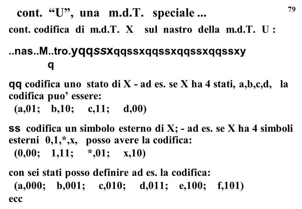 79 cont. U, una m.d.T. speciale... cont. codifica di m.d.T. X sul nastro della m.d.T. U :..nas..M..tro. yqqssx qqssxqqssxqqssxqqssxy q qq codifica uno