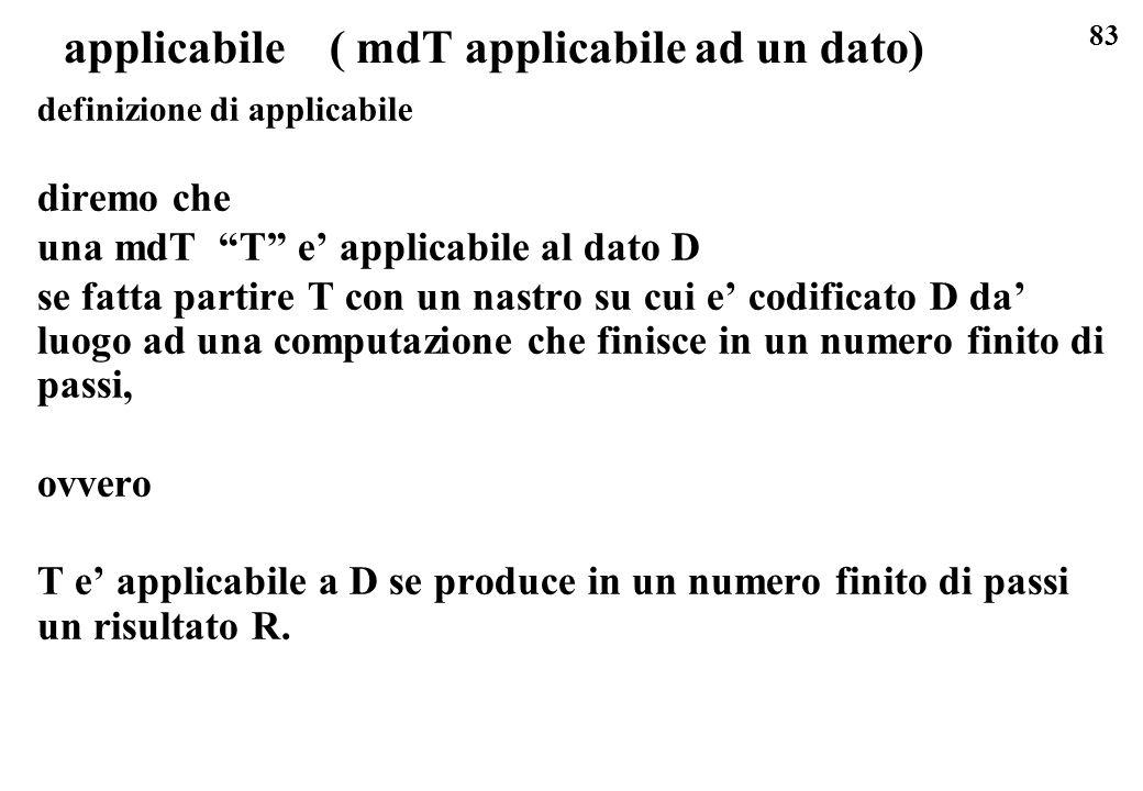 83 applicabile ( mdT applicabile ad un dato) definizione di applicabile diremo che una mdT T e applicabile al dato D se fatta partire T con un nastro