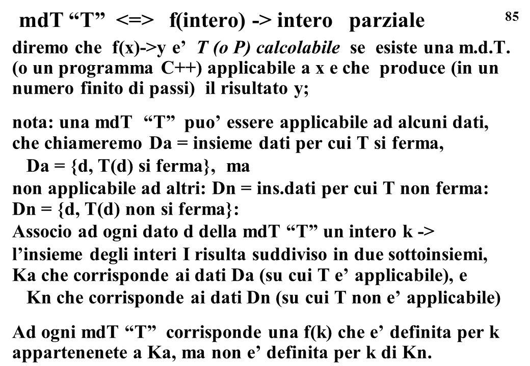 85 mdT T f(intero) -> intero parziale diremo che f(x)->y e T (o P) calcolabile se esiste una m.d.T. (o un programma C++) applicabile a x e che produce