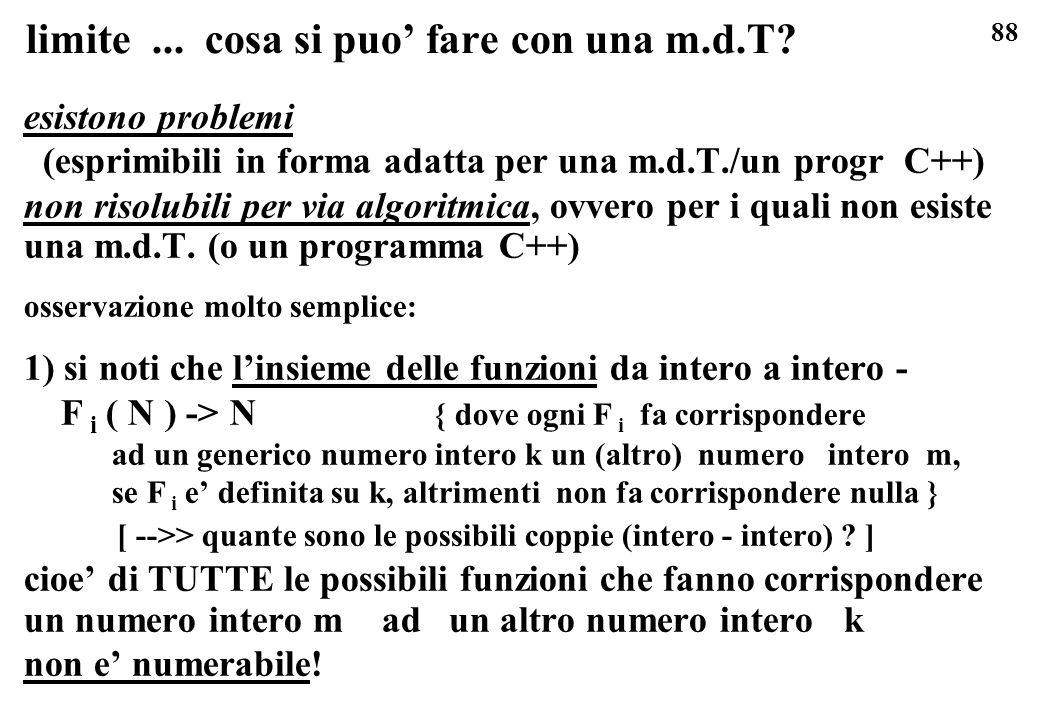 88 limite... cosa si puo fare con una m.d.T? esistono problemi (esprimibili in forma adatta per una m.d.T./un progr C++) non risolubili per via algori
