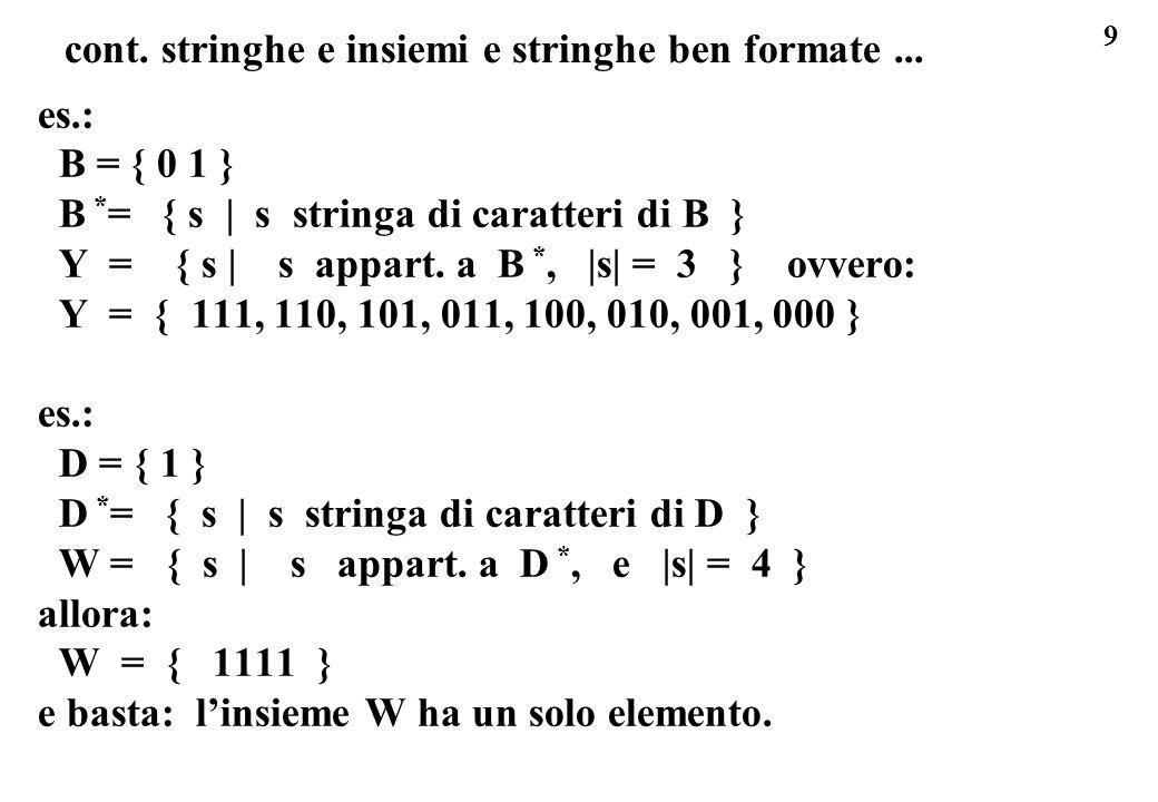 9 cont. stringhe e insiemi e stringhe ben formate... es.: B = { 0 1 } B * = { s | s stringa di caratteri di B } Y = { s | s appart. a B *, |s| = 3 } o