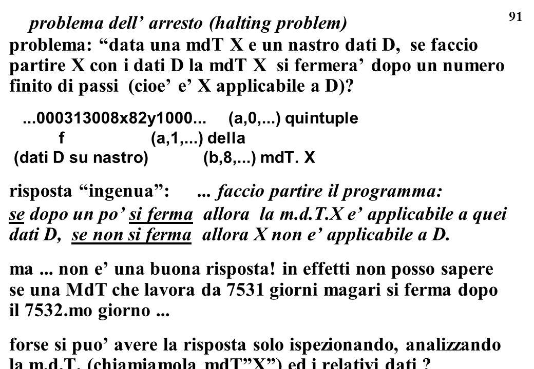 91 problema: data una mdT X e un nastro dati D, se faccio partire X con i dati D la mdT X si fermera dopo un numero finito di passi (cioe e X applicab