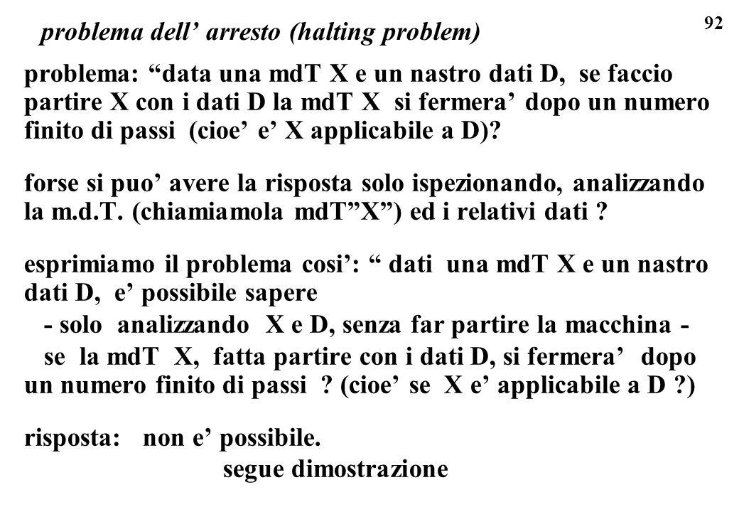 92 problema dell arresto (halting problem) problema: data una mdT X e un nastro dati D, se faccio partire X con i dati D la mdT X si fermera dopo un n